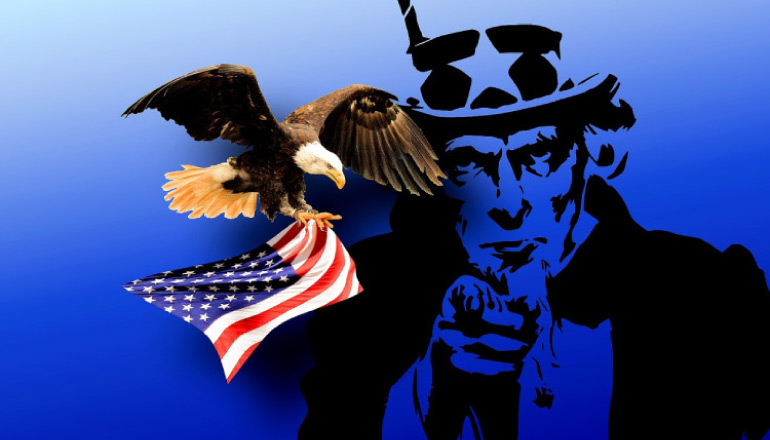 Uncle Sam and bald eagle carrying an American flag