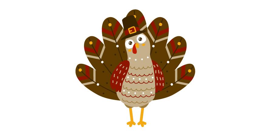 Colorful cartoon turkey