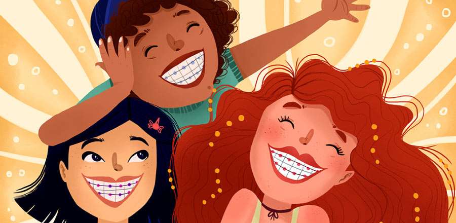 Three multicultural smiling cartoon girls with braces